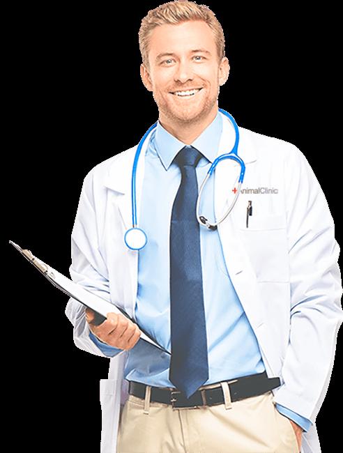 Médico veterinário segurando prancheta